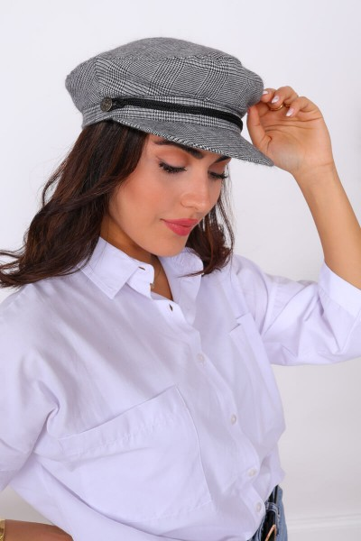 AKS-17034 Siyah Beyaz Ekoseli Denizci Şapkası