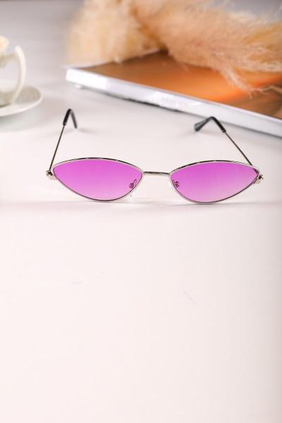 AKS-17052 Gümüş Kedi Göz Çerçeve Mor Cam Güneş Gözlüğü