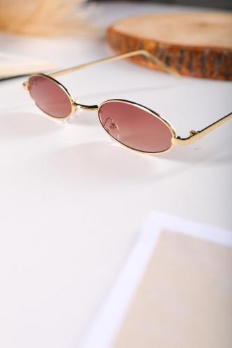 Cappmoda - AKS-17053 Gold Vintage Çerçeve Kahverengi Cam Güneş Gözlüğü (1)