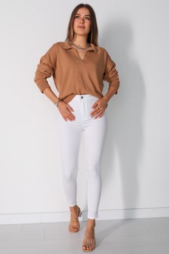 Cappmoda - PNT-07010 Beyaz Arka Cepli Yüksek Bel Pantolon (1)