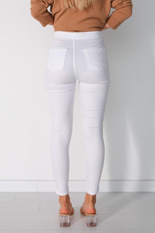 PNT-07010 Beyaz Arka Cepli Yüksek Bel Pantolon
