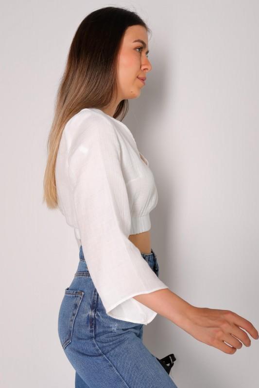 BLZ-06112 Beyaz V Yaka Bel Lastikli İspanyol Salaş Kol Bluz