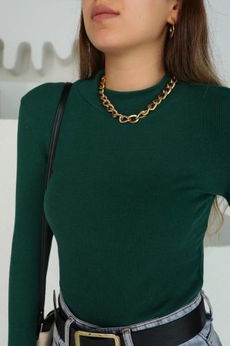 Cappmoda - BLZ-06124 Yeşil Dik Yaka Uzun Kollu Kaşkorse Bluz (1)