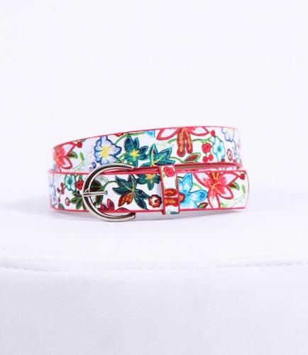 Çiçekli Beyaz Kemer - Thumbnail
