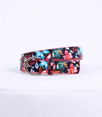 Çiçekli Siyah Kemer - Thumbnail