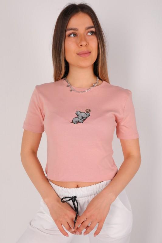 CPP-TSR-04097 Gül Kurusu Koala Nakışlı Crop Tişört