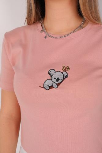 Cappmoda - CPP-TSR-04097 Gül Kurusu Uyuyan Hayvan Nakışlı Crop Tişört (1)