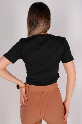 CPP-TSR-04114 Siyah Kaşkorse Kumaş Yuvarlak Yaka Crop Bluz - Thumbnail