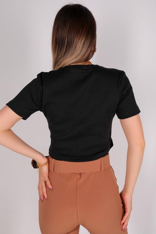 CPP-TSR-04114 Siyah Kaşkorse Kumaş Yuvarlak Yaka Crop Bluz