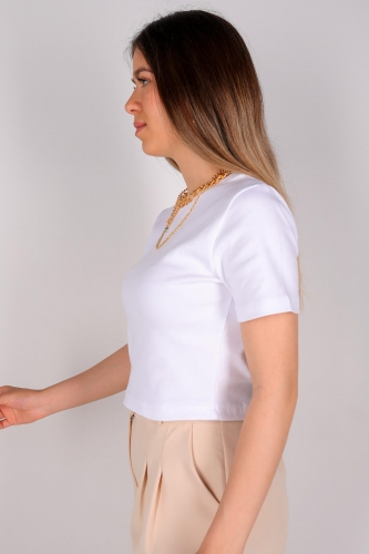 Cappmoda - CPP-TSR-04115 Beyaz Kısa Kollu Pamuklu Crop Tişört (1)