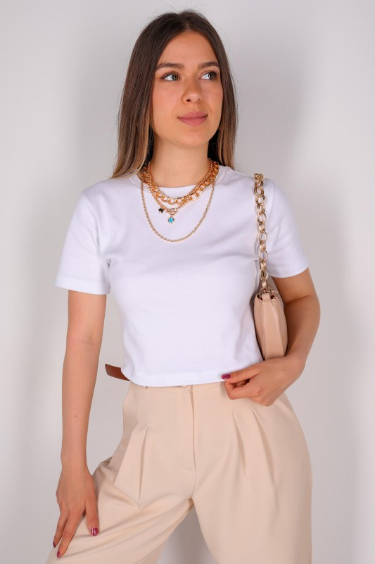 CPP-TSR-04115 Beyaz Kısa Kollu Pamuklu Crop Tişört