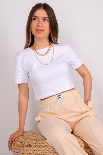 CPP-TSR-04115 Beyaz Kısa Kollu Pamuklu Crop Tişört - Thumbnail