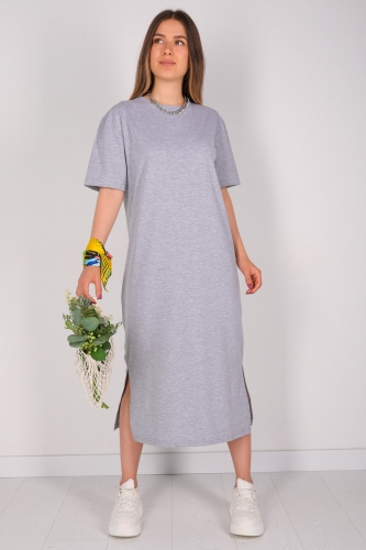 ELB-01426 Gri Yırtmaç Detaylı Uzun Basic Elbise - Thumbnail