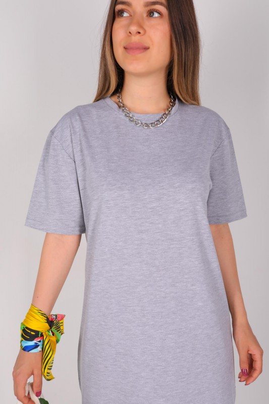 ELB-01426 Gri Yırtmaç Detaylı Uzun Basic Elbise