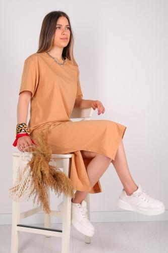 - ELB-01426 Taba Yırtmaç Detaylı Uzun Basic Elbise (1)