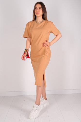 ELB-01426 Taba Yırtmaç Detaylı Uzun Basic Elbise - Thumbnail