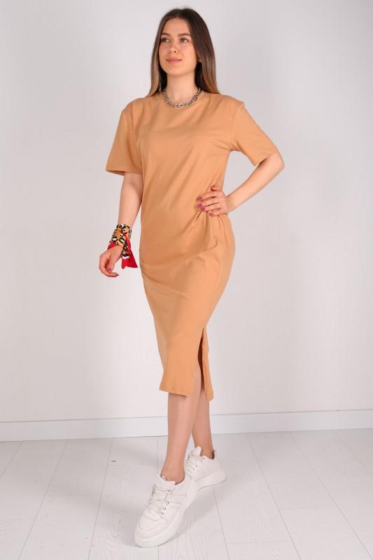 ELB-01426 Taba Yırtmaç Detaylı Uzun Basic Elbise