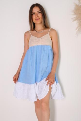 ELB-01475 Mavi Beyaz Blok Renkli Askılı Gofret Kumaş Elbise - Thumbnail