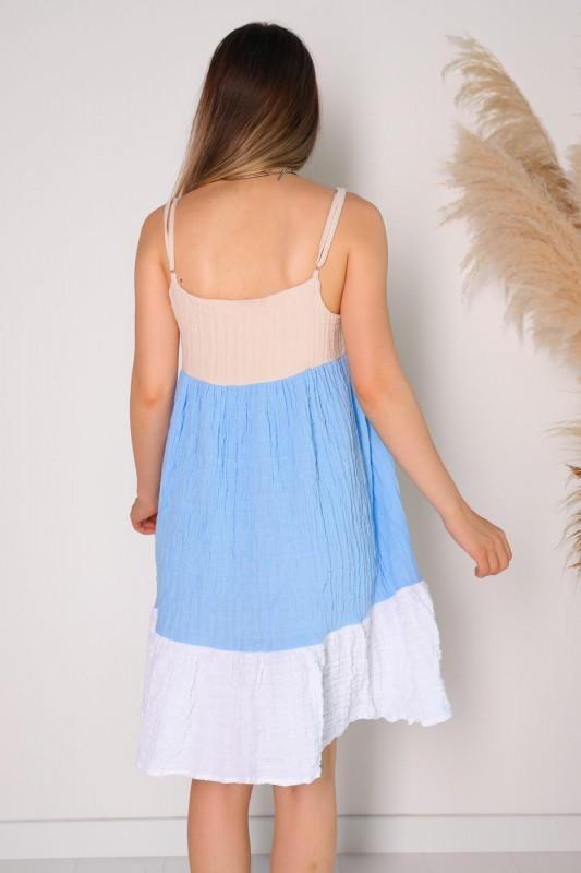 ELB-01475 Mavi Beyaz Blok Renkli Askılı Gofret Kumaş Elbise