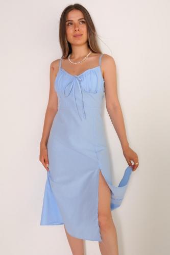 ELB-01486 Mavi Yırtmaçlı Detaylı Askılı Mini Elbise - Thumbnail
