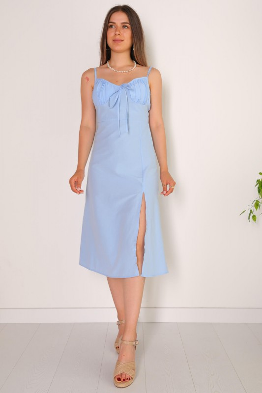 ELB-01486 Mavi Yırtmaçlı Detaylı Askılı Mini Elbise