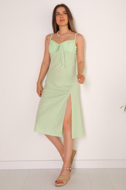 ELB-01486 Mint Yeşili Yırtmaçlı Detaylı Askılı Mini Elbise