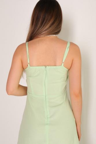ELB-01486 Mint Yeşili Yırtmaçlı Detaylı Askılı Mini Elbise - Thumbnail