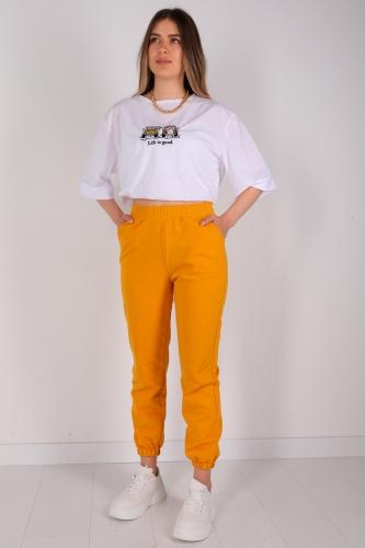 EŞF-09038 Sarı Lastikli Jogger Eşofman - Thumbnail