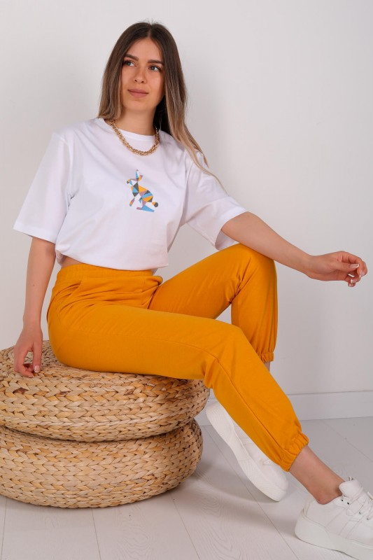 EŞF-09038 Sarı Lastikli Jogger Eşofman