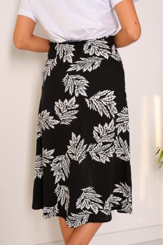 ETK-02223 Siyah Yaprak Desenli Yırtmaçlı Etek - Thumbnail