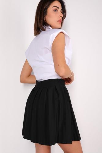 ETK-02229 Siyah Pileli Yan Fermuarlı Mini Etek - Thumbnail