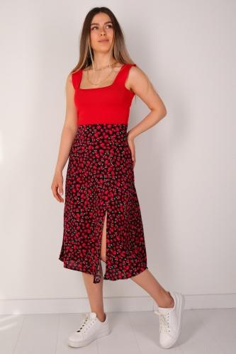 Cappmoda - ETK-02232 Kırmızı Çiçek Desenli Yırtmaçlı Fermuarlı Etek (1)