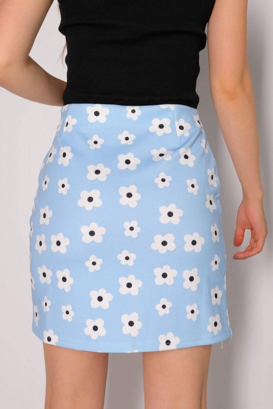 ETK-02263 Mavi Çiçek Desenli Yandan Fermuarlı Mini Etek