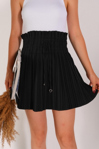 ETK-02271 Siyah Bel Lastikli Pileli Şortlu Etek - Thumbnail
