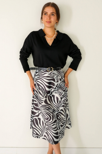 Cappmoda - ETK-02272 Siyah Beyaz Zebra Desenli Bel Lastikli Saten Etek (1)