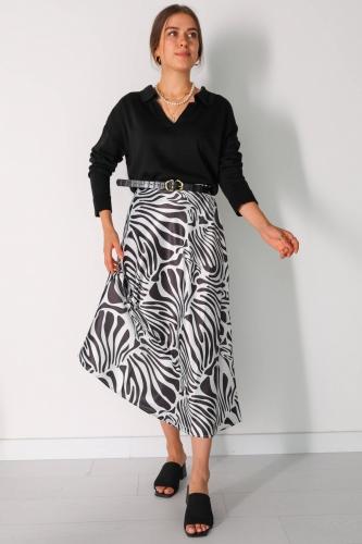 ETK-02272 Siyah Beyaz Zebra Desenli Bel Lastikli Saten Etek - Thumbnail