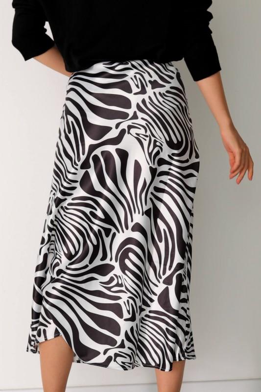 ETK-02272 Siyah Beyaz Zebra Desenli Bel Lastikli Saten Etek
