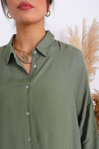 Cappmoda - GML-10075 Haki Fakir Kol Salaş Düğmeli Gömlek (1)