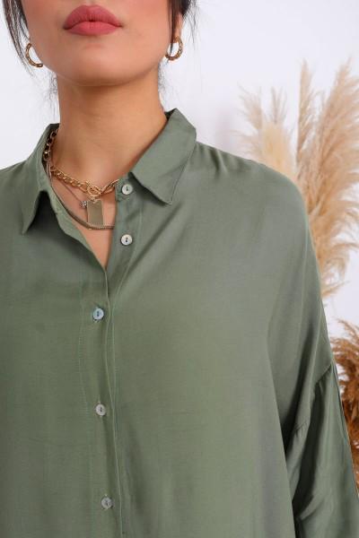 GML-10075 Haki Fakir Kol Salaş Düğmeli Gömlek