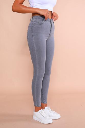 Cappmoda - JEAN-08009 Gri Yüksek Bel Skinny Jean (1)
