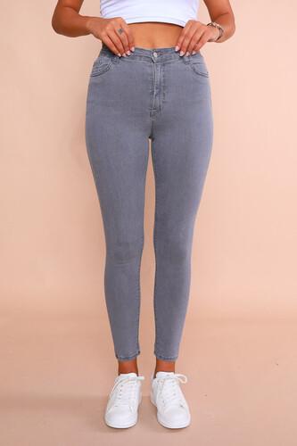 JEAN-08009 Gri Yüksek Bel Skinny Jean