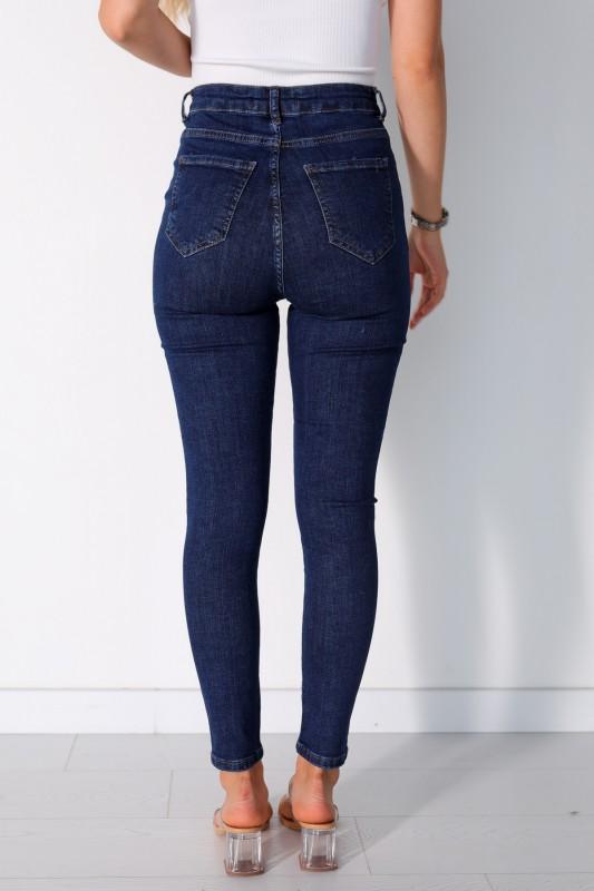 JEAN-08013 Mavi Yüksek Bel Skinny Jean