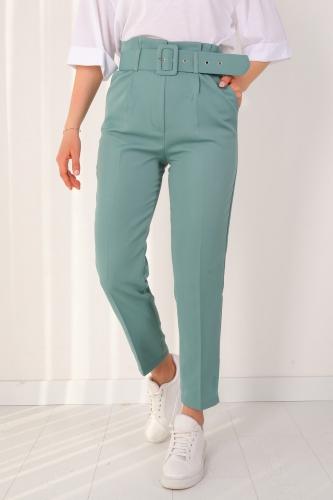 PNT-07175 Mint Yeşili Atlas Kumaş Kemerli Pantolon - Thumbnail