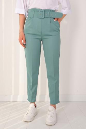 Cappmoda - PNT-07175 Mint Yeşili Atlas Kumaş Kemerli Pantolon (1)