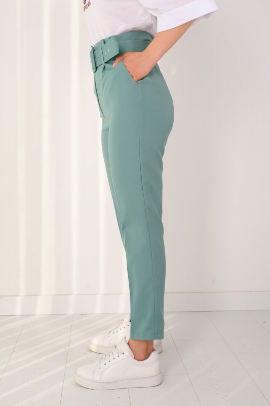 PNT-07175 Mint Yeşili Atlas Kumaş Kemerli Pantolon