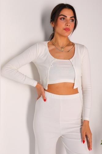 - TKM-03146 Beyaz Pantolon Askılı Hırka Üçlü Kaşkorse Kumaş Takım (1)