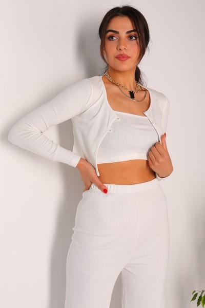 TKM-03146 Beyaz Pantolon Askılı Hırka Üçlü Kaşkorse Kumaş Takım