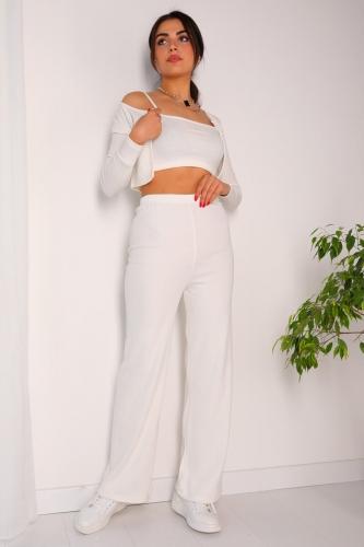 TKM-03146 Beyaz Pantolon Askılı Hırka Üçlü Kaşkorse Kumaş Takım - Thumbnail